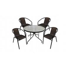 Набор мебели МАРСЕЛЬ МИНИ С ОПЛЕТКОЙ (с 4 креслами искуственный ротанг , стекло)
