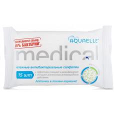 Салфетки влажные антибактериальные AQUAELLE MEDICAL  в упаке 15шт