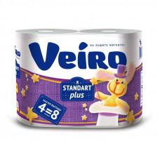 Туалетная бумага VEIRO STANDART PLUS 2 слоя 4 рулона БЕЛАЯ