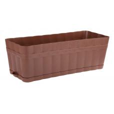 Ящик для цветов пласт. 460х190х155 мм с поддоном ИЗЮМИНКА коричневый АЛЬТЕРНАТИВА М3355