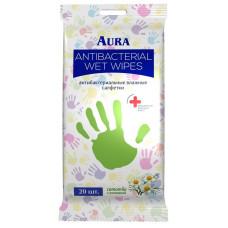 Салфетки влажные антибактериальные AURA ромашка в упаке 20шт