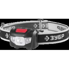 Фонарь налобный светодиодный 1Вт (80Лм)+2LED 4 режима 3ААА ЗУБР МАСТЕР 56436