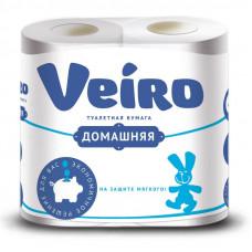 Туалетная бумага VEIRO ДОМАШНЯЯ 2 слоя 4 рулона БЕЛАЯ