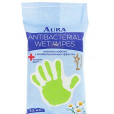 Салфетки влажные антибактериальные AURA ромашка в упаке 15шт 210113