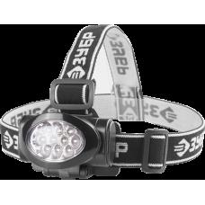 Фонарь налобный светодиодный 10Ultra LED матричный рефлектор 3 режима 3ААА ЗУБР МАСТЕР 56438